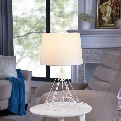 Carson Carrington Riga White Metal Table Lamp