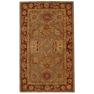 Safavieh Handmade Anatolia Oriental Traditional Grey/ Rust Hand-spun Wool Rug (3' x 5')
