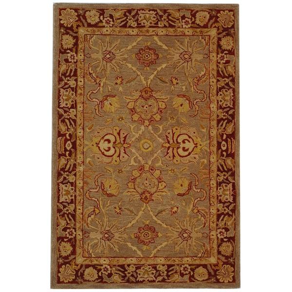 Safavieh Handmade Anatolia Oriental Traditional Grey/ Rust Hand-spun Wool Rug - 4' x 6'