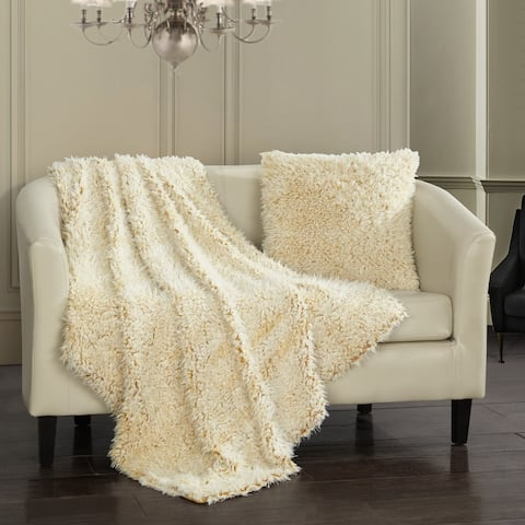 Chic Home Chesney Throw Blanket 2 Piece Set Shaggy Faux Fur Micromink