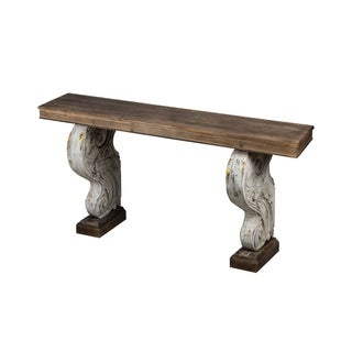 White and Natural Wood Classic Vintage Console Table