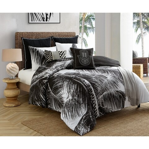 Caribbean Joe Natural Palm 4PC Reversible Comforter Set - Black/White