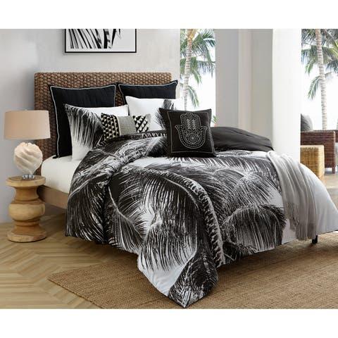 Caribbean Joe Natural Palm 4PC Reversible Comforter Set - Black/White