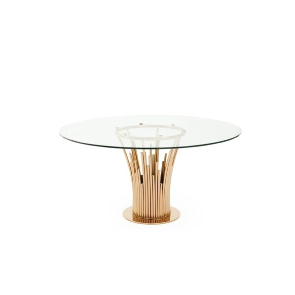 Shop Modrest Paxton Modern Round Glass Rose Gold Dining Table