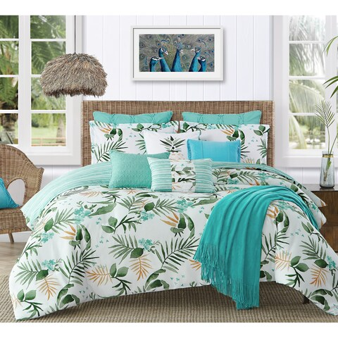 Caribbean Joe Tropical Nassau 4PC Microfiber Reversible Comforter Set - White/Green