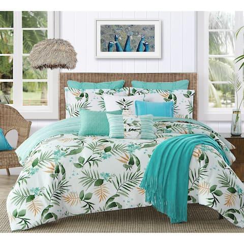 Caribbean Joe Tropical Nassau 4PC Microfiber Reversible Comforter Set - White/Green