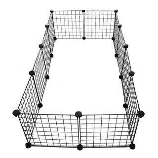 ALEKO Multipurpose DIY Pet 12-Panel Playpen and Organizer 55 x 28 x 14 inches - black