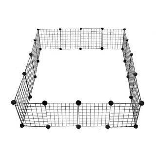 ALEKO Multipurpose DIY Pet 24-Panel Playpen and Organizer 112 x 56 x 14 inches - black