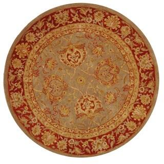 Safavieh Handmade Anatolia Oriental Traditional Grey/ Rust Hand-spun Wool Rug (6' Round)