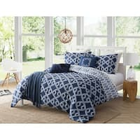 Caribbean Joe Aruba Casual Lifestyle 4PC Premium Reversible Comforter Set - Blue/White