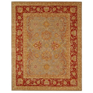 Safavieh Handmade Anatolia Oriental Traditional Grey/ Rust Hand-spun Wool Rug (9' x 12')