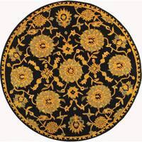 Safavieh Handmade Anatolia Oriental Medallions Navy Hand-spun Wool Rug - 4' x 4' Round