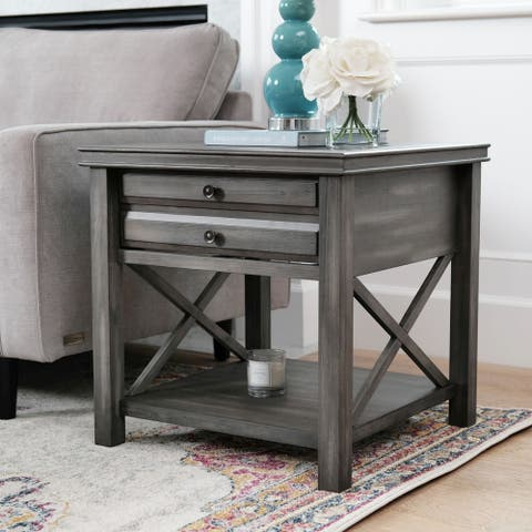 Abbyson Felicity Grey 1 Drawer Square End Table