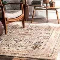 nuLOOM Beige Transitional Vintage Melange Geo Dot Border Area Rug