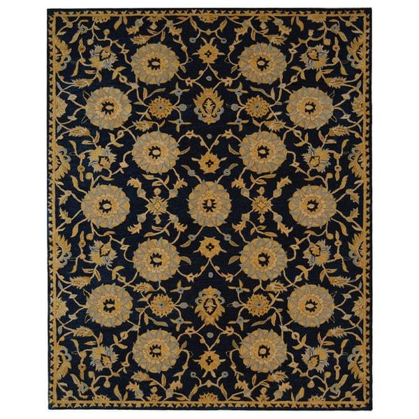 Safavieh Handmade Anatolia Oriental Medallions Navy Hand-spun Wool Rug (5' x 8')