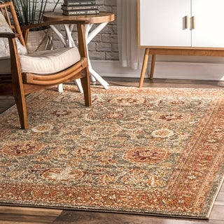 nuLOOM Olive Transitional Persian Faded Oriental Border Area Rug