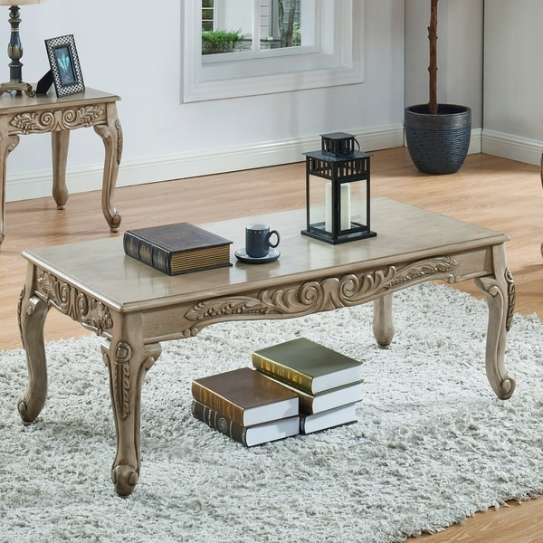 Furniture of America Drew Traditional White Carved Coffee Table