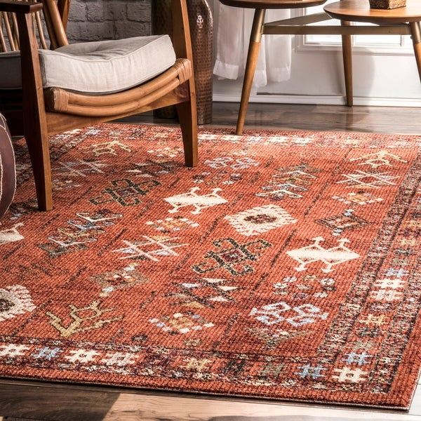 nuLOOM Orange Transitional Tribal Melange Pharoe Aztec Geo Border Area Rug