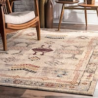 The Curated Nomad Bluxome Beige Transitional Vintage Rustic Tribal Border Area Rug
