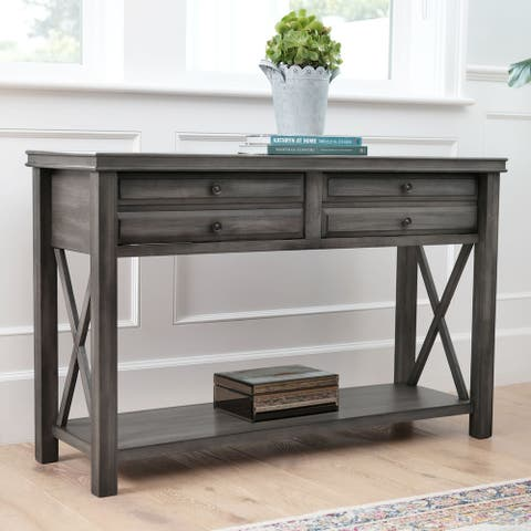Abbyson Felicity Grey 2 Drawer Rectangle Console Table