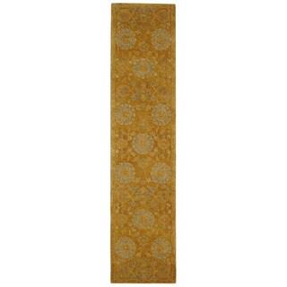 Safavieh Handmade Anatolia Oriental Medallions Gold Hand-spun Wool Runner (2'3 x 8')