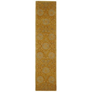 Safavieh Handmade Anatolia Oriental Medallions Gold Hand-spun Wool Runner (2'3 x 10')