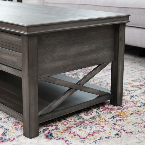 Abbyson Felicity Grey 2 Drawer Rectangle Coffee Table