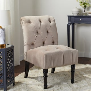 Abbyson Josephine Beige Fabric Tufted Accent Chair