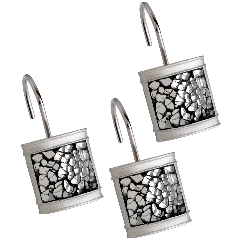 Brushed Nickel Shower Curtain Hooks Set Of 12 Silver