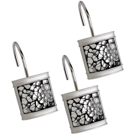 Brushed Nickel Shower Curtain Hooks - Set of 12 (Silver)