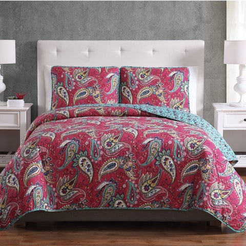 Asher Home Amelia Paisley Quilt Set