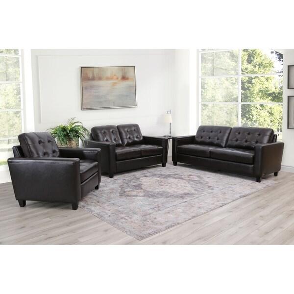 Abbyson Merano Brown Top Grain Leather 3 Piece Sofa Set