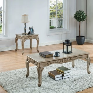 Furniture of America Drew Traditional White 2-piece Accent Table Set