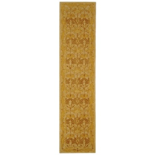 Safavieh Handmade Anatolia Oriental Traditional Beige/ Gold Hand-spun Wool Rug (2'3 x 8')