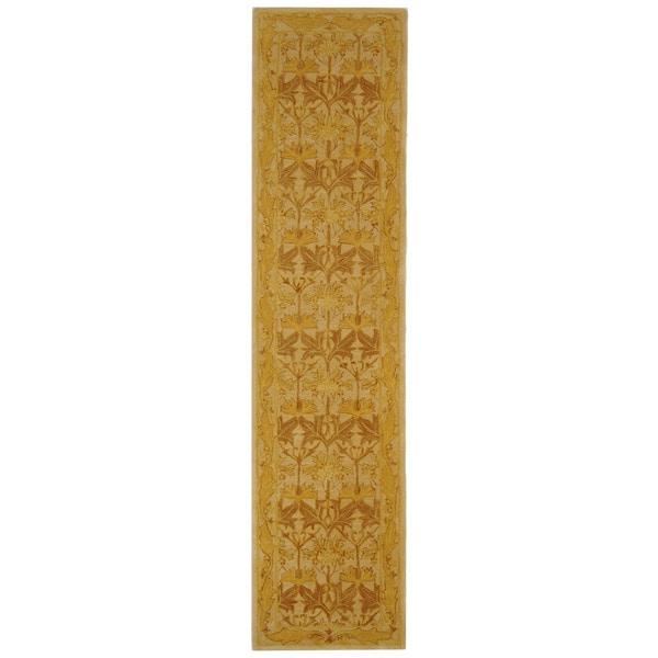 Safavieh Handmade Anatolia Oriental Traditional Beige/ Gold Hand-spun Wool Rug (2'3 x 12')