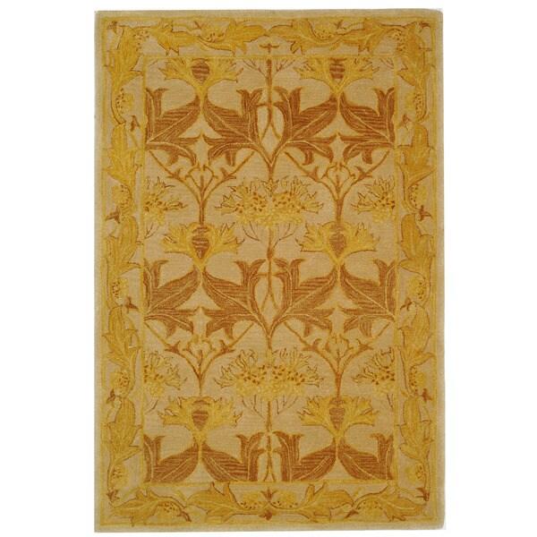 Safavieh Handmade Anatolia Oriental Traditional Beige/ Gold Hand-spun Wool Rug - 4' x 6'