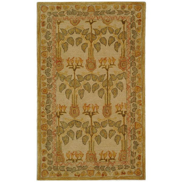 Safavieh Handmade Anatolia Oriental Traditional Ivory/ Green Hand-spun Wool Rug (2' x 3')