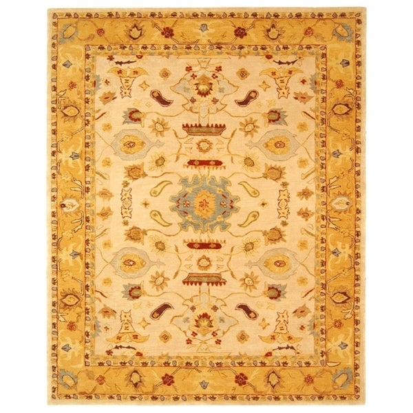 Safavieh Handmade Anatolia Oriental Traditional Ivory/ Gold Hand-spun Wool Rug - 8' x 10'