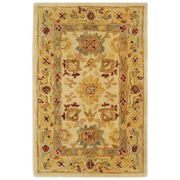 Safavieh Handmade Anatolia Oriental Heirloom Ivory/ Gold Hand-spun Wool Rug (2' x 3')