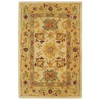 Safavieh Handmade Anatolia Oriental Heirloom Ivory/ Gold Hand-spun Wool Rug - 2' X 3'