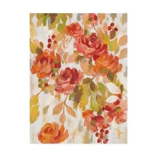 Silvia Vassileva 'Red And Orange Brocade Ii' Canvas Art