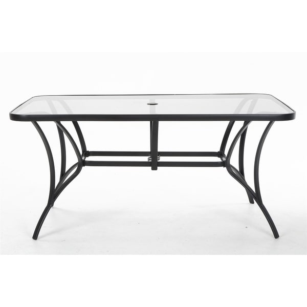 43b33f491583 COSCO Outdoor Living Steel Patio Dining Table with Tempered Glass Table Top