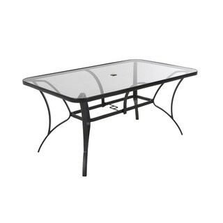 COSCO Outdoor Living Steel Patio Dining Table with Tempered Glass Table Top