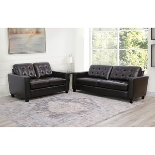Abbyson Merano Brown Top Grain Leather Sofa and Loveseat Set