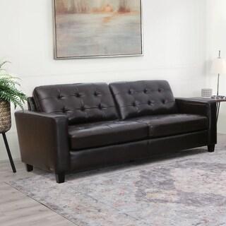 Abbyson Merano Brown Top Grain Leather Sofa