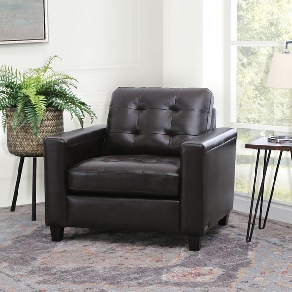 Shop Abbyson Merano Brown Top Grain Leather Arm Chair On
