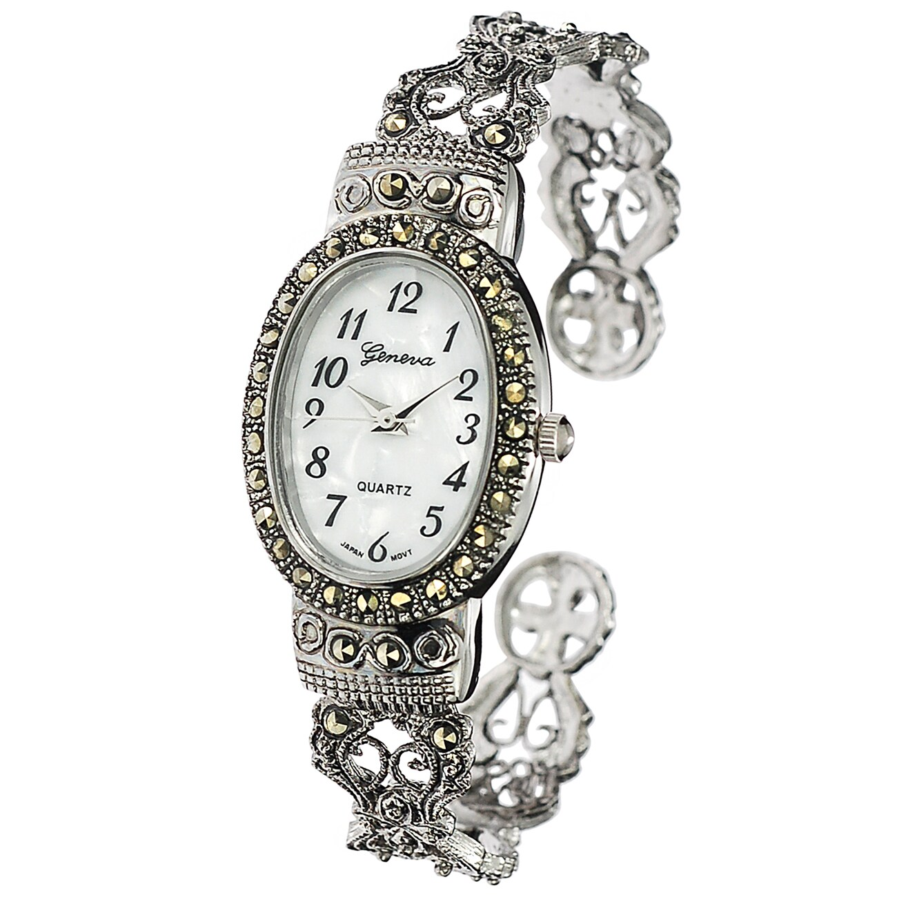 Geneva Marcasite Oval Face Women's Watch (Geneva Platinum...