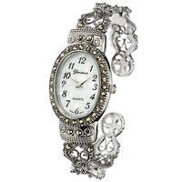 Geneva Platinum Marcasite Oval Face Women's Watch