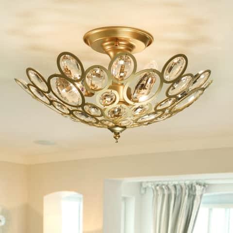Plumera 3-Light Satin Gold Semi-Flushmount Ceiling Lamp with Crystals