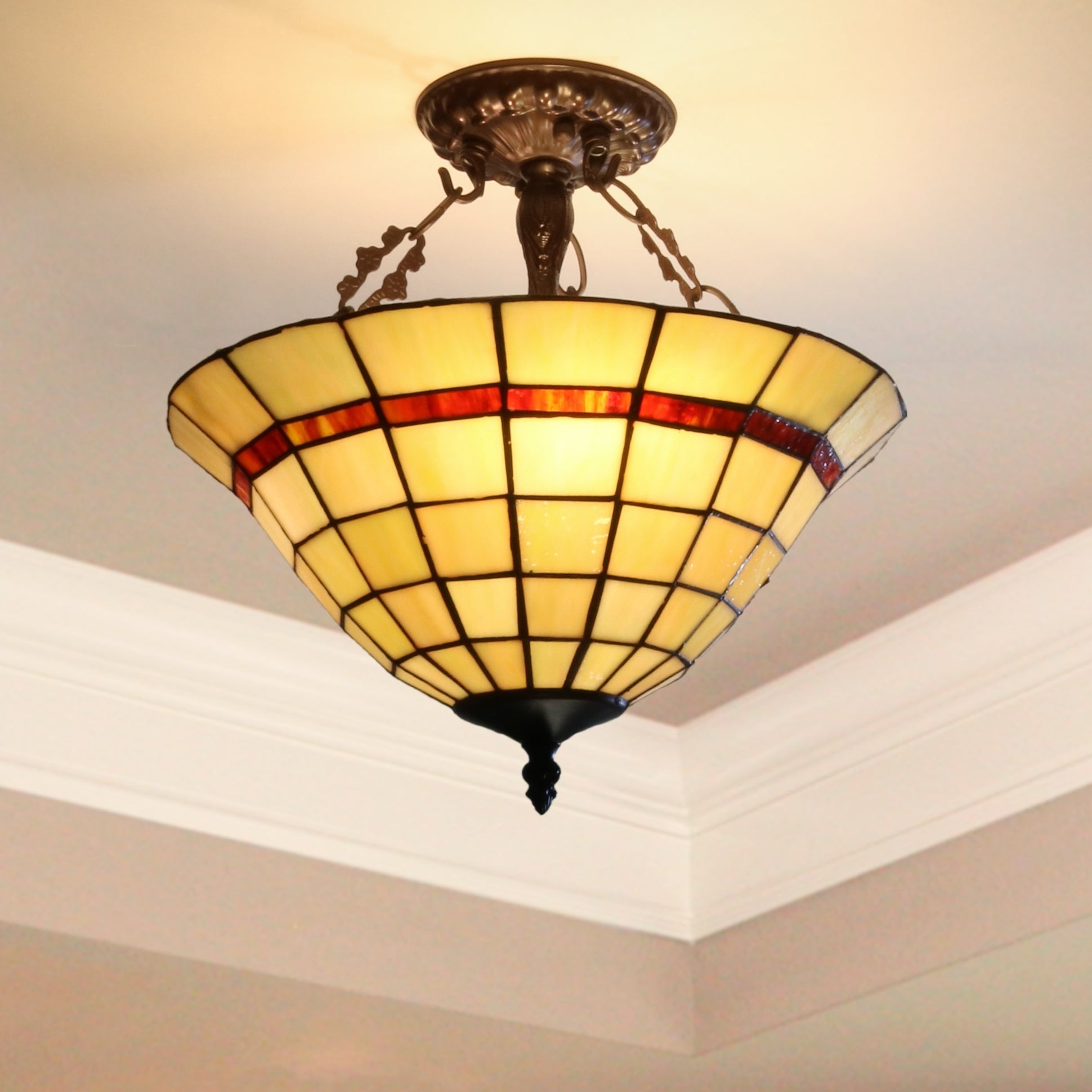 Tiffany Style Semi Flush Mount Ceiling